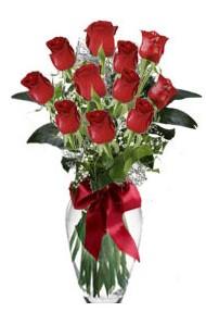 11 adet kirmizi gül vazo mika vazo içinde  Çorum hediye sevgilime hediye çiçek