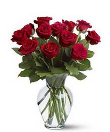 Çorum çiçek gönderme  cam yada mika vazoda 10 kirmizi gül