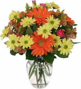 Çorum çiçek servisi , çiçekçi adresleri  vazo içerisinde karışık mevsim çiçekleri