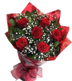 6 adet kırmızı gülden buket  Çorum çiçek yolla , çiçek gönder , çiçekçi