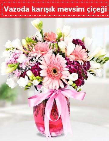 Vazoda karışık mevsim çiçeği  Çorum hediye çiçek yolla