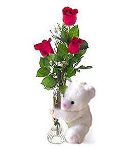 oyuncak ve 3 adet gül  Çorum çiçekçiler