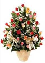 91 adet renkli gül aranjman   Çorum çiçek gönderme