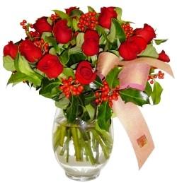 Çorum internetten çiçek satışı  11 adet kirmizi gül  cam aranjman halinde