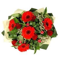 Çorum çiçekçi mağazası   5 adet kirmizi gül 5 adet gerbera demeti