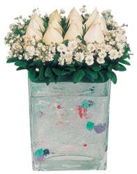 Çorum internetten çiçek satışı  7 adet beyaz gül cam yada mika vazo tanzim