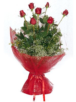 Çorum kaliteli taze ve ucuz çiçekler  7 adet gülden buket görsel sik sadelik