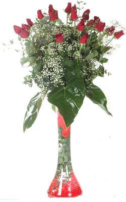 Çorum anneler günü çiçek yolla  19 ADET GÜL VE FIL CAM AYAGI