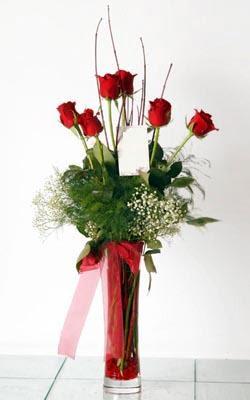 Çorum 14 şubat sevgililer günü çiçek  6 adet kirmizi gül ve cam yada mika vazo