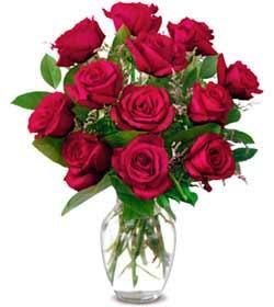 Çorum cicekciler , cicek siparisi  1 düzine kirmizi gül sevenlere özel vazo gülleri