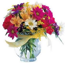 Çorum internetten çiçek siparişi  cam yada mika içerisinde karisik mevsim çiçekleri