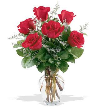 Çorum 14 şubat sevgililer günü çiçek  cam yada mika vazoda 6 adet kirmizi gül