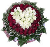 Çorum güvenli kaliteli hızlı çiçek  27 adet kirmizi ve beyaz gül sepet içinde