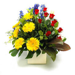 Çorum cicekciler , cicek siparisi  9 adet gül ve kir çiçekleri cam yada mika vazoda