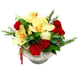 Çorum çiçek satışı  1 kandil kazablanka ve 5 adet kirmizi gül