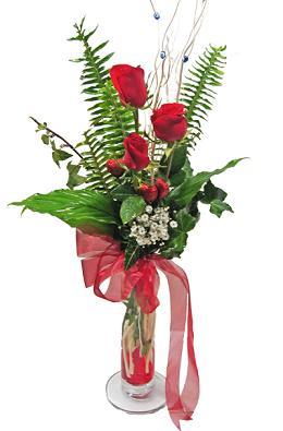 Çiçek gönderin cam vazoda 3 gül çiçekleri  Çorum çiçekçiler
