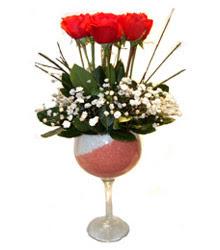 Çorum çiçek siparişi vermek  cam kadeh içinde 7 adet kirmizi gül çiçek