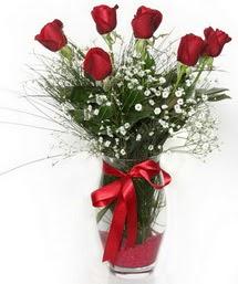 7 adet gülden cam içerisinde güller  Çorum hediye sevgilime hediye çiçek