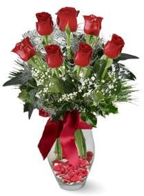 7 adet vazoda gül  Çorum internetten çiçek siparişi  kirmizi gül