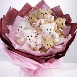 9 adet ayiciktan buket  Çorum online çiçek gönderme sipariş