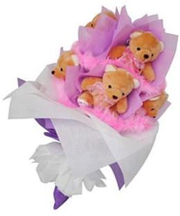 9 adet ayiciktan buket  Çorum çiçek servisi , çiçekçi adresleri