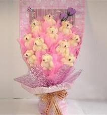 11 adet pelus ayicik buketi  Çorum çiçekçi telefonları