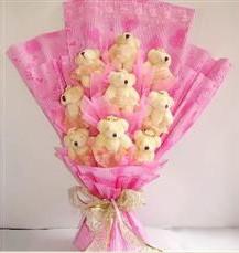 9 adet pelus ayicik buketi  Çorum çiçek online çiçek siparişi