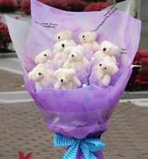 11 adet pelus ayicik buketi  Çorum çiçekçi mağazası