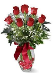 Çorum online çiçek gönderme sipariş  7 adet kirmizi gül cam vazo yada mika vazoda