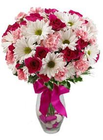 Çorum çiçekçiler  Karisik mevsim kir çiçegi vazosu