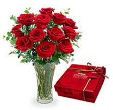 Çorum internetten çiçek satışı  10 adet cam yada mika vazoda gül çikolata