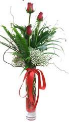 Çorum çiçekçiler  3 adet kirmizi gül vazo içerisinde