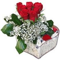 Çorum online çiçekçi , çiçek siparişi  kalp mika içerisinde 7 adet kirmizi gül
