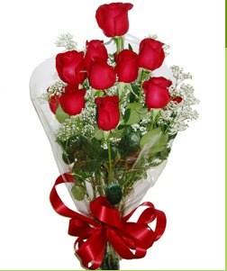 Çorum anneler günü çiçek yolla  10 adet kırmızı gülden görsel buket