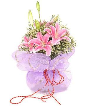 3 dal kazablanka görsel buketi  Çorum internetten çiçek siparişi