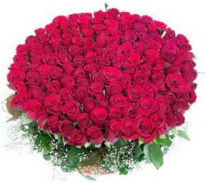 Çorum İnternetten çiçek siparişi  100 adet kırmızı gülden görsel buket