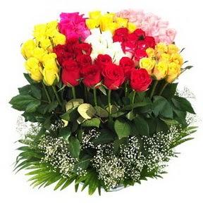 Çorum güvenli kaliteli hızlı çiçek  51 adet renkli güllerden aranjman tanzimi