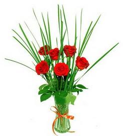 Çorum hediye çiçek yolla  6 adet kırmızı güllerden vazo çiçeği