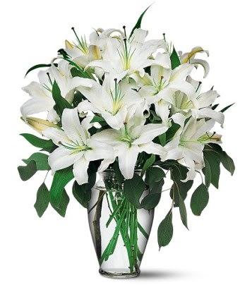 Çorum internetten çiçek siparişi  4 dal kazablanka ile görsel vazo tanzimi