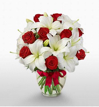 Çorum çiçek siparişi sitesi  1 dal kazablanka 11 adet kırmızı gül vazosu
