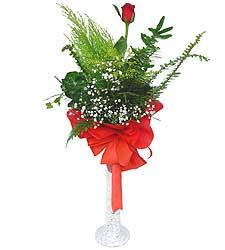 Çorum çiçek online çiçek siparişi  Cam vazoda masum tek gül