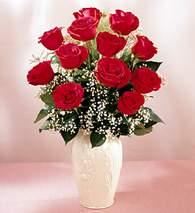 Çorum internetten çiçek satışı  9 adet vazoda özel tanzim kirmizi gül