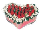Çorum çiçek , çiçekçi , çiçekçilik  mika kalpte kirmizi güller 9