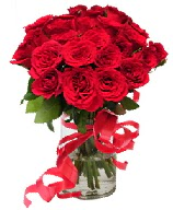 21 adet vazo içerisinde kırmızı gül  Çorum ucuz çiçek gönder