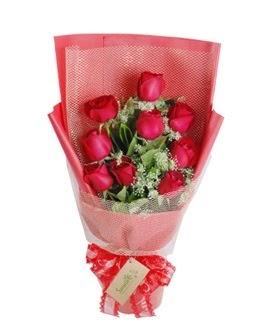 9 adet kırmızı gülden görsel buket  Çorum çiçekçi mağazası
