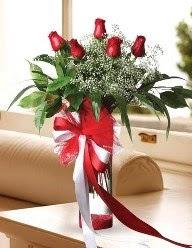 Camda 5 kırmızı gül tanzimi  Çorum çiçek , çiçekçi , çiçekçilik