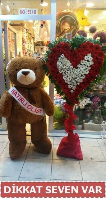 1.5 Metre peluş ayı ve Kalp  Çorum çiçek gönderme