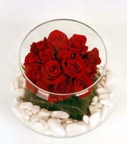 Cam fanusta 11 adet kırmızı gül  Çorum çiçek satışı