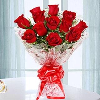 11 adet kırmızı gülden görsel şık buket  Çorum çiçekçi mağazası