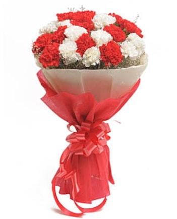 21 adet kırmızı beyaz karanfil buketi  Çorum ucuz çiçek gönder